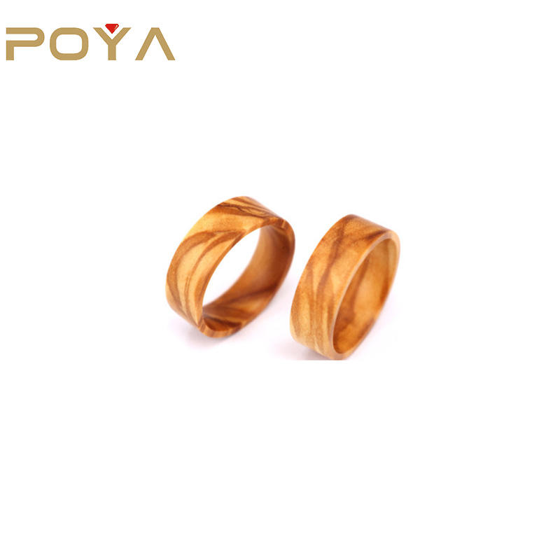 POYA Jewelry 8mm Olive Wood Blank Ring for Inlay