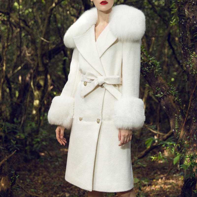 Winter clothes double breasted overcoat real fox fur wool coat jacket long winter wool coat