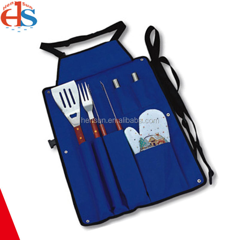 6 Pcs Chinese Bbq Camping Set Healthy Product Grilling Tool Set with Apron