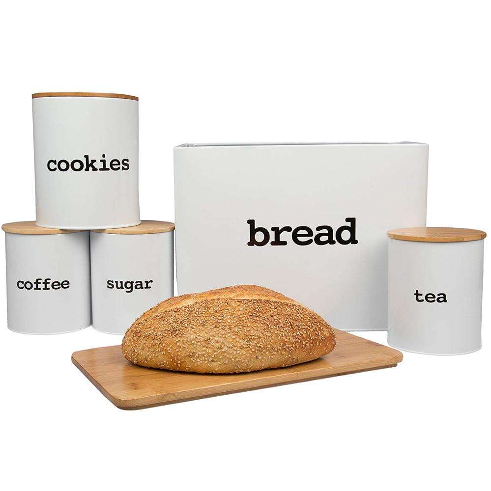 Hot Selling Tea Coffee Sugar and Bread Canister Set with bamboo lids bread bin and canister set with Cutting Board Lid