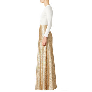 High Quality New Fashion Style Gold Sequin Women Dresses Long Skirts