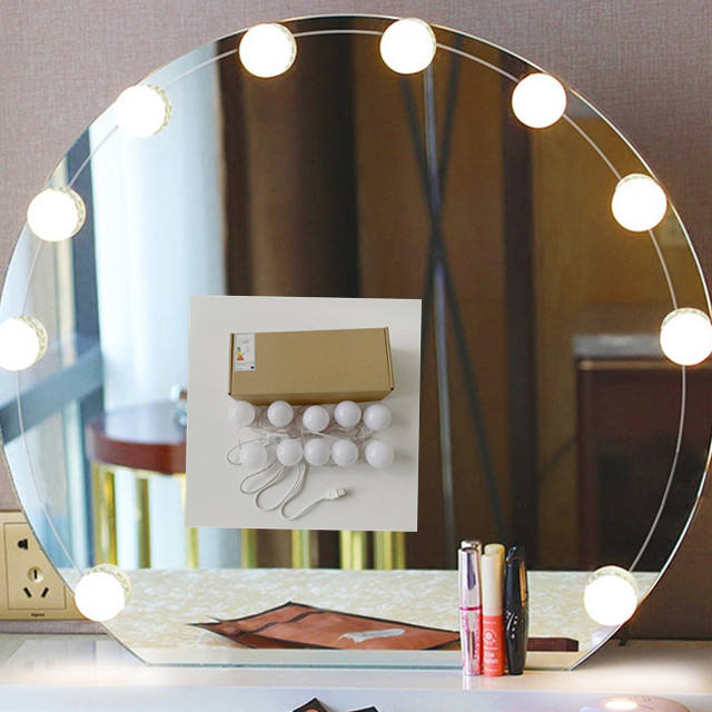 USB LED 5V LED Makeup mirror Lamp 10Bulbs Kit For Dressing Table Stepless Dimmable Hollywood Vanity Mirror Light