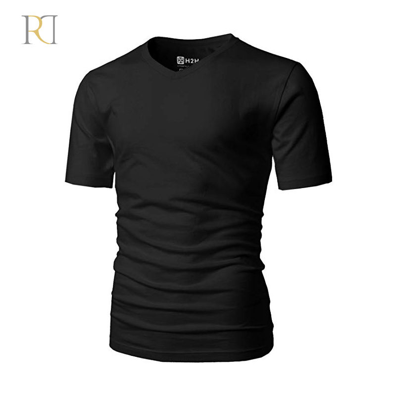 Custom 50% polyester 25% cotton 25% rayon soft black t shirt