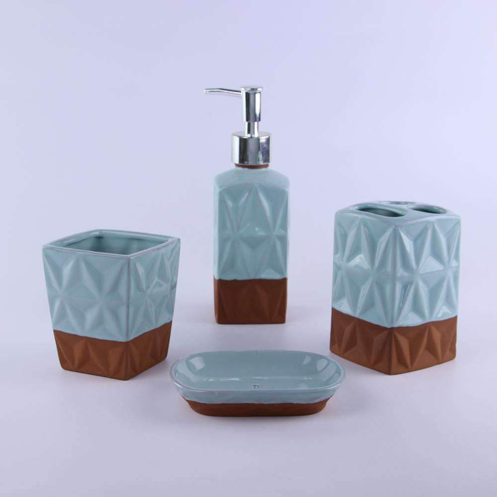 Terracotta material and ceramic Lotion pump lotion dispenser bathroom accessory set