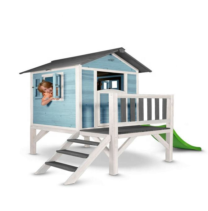 Eco-friendly Fir-wood Cottage Sunnyside Wooden Tower Playhouse With Slide