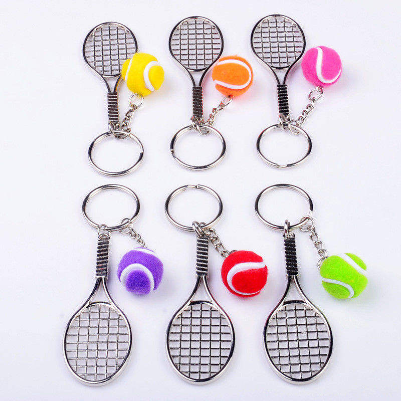 Tennis Racket and Tennis ball metal keyring keychain gift present