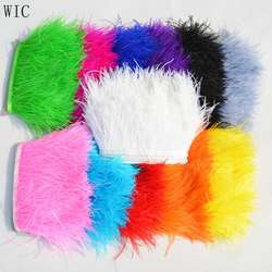 8-10cm Feather Trimming Ostrich Feather Fringe Trim for bags and clothes shoes