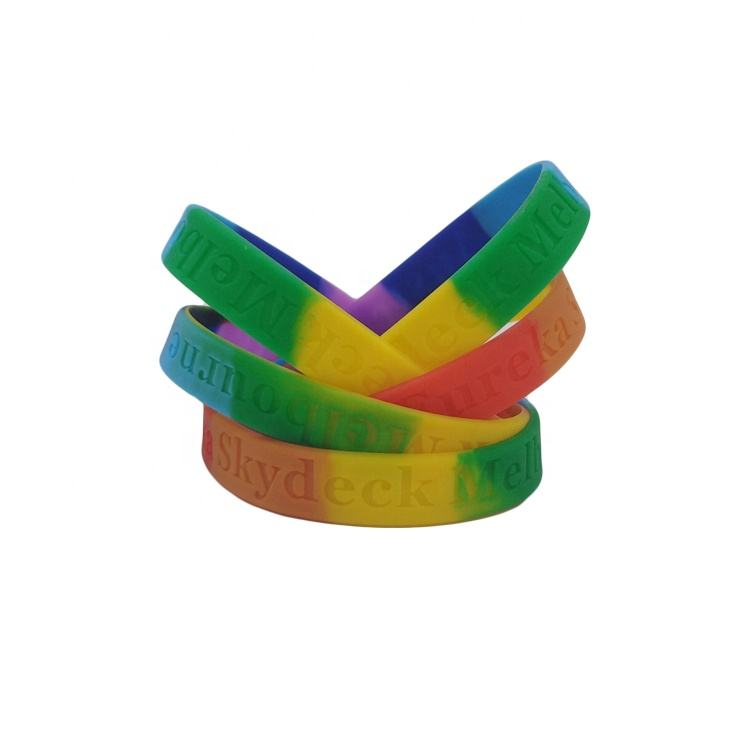 Wholesale custom rainbow colors high quality silicone bracelets for event