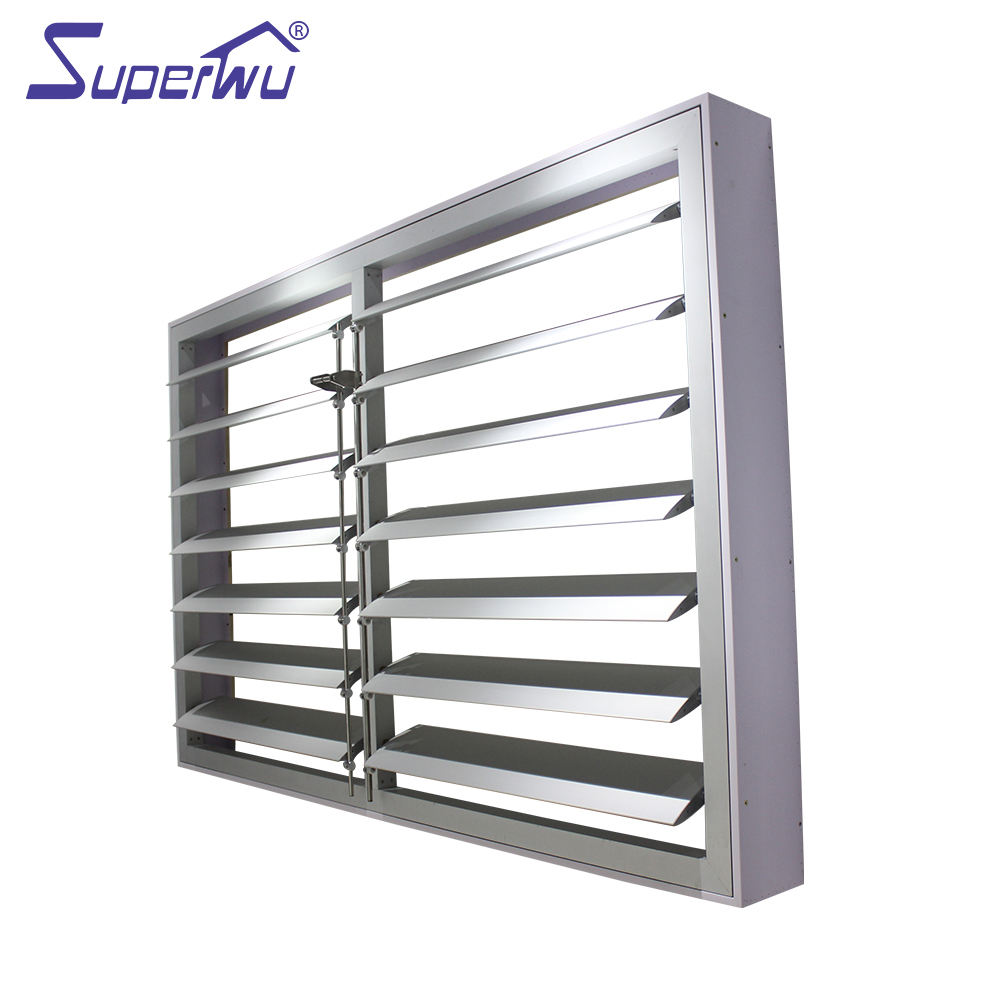 High quality white aluminum electric shutters movable blades louver window