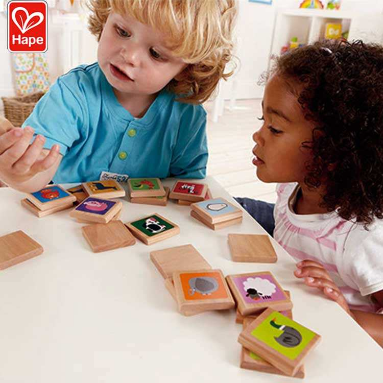 Hape Kids Memory Wooden Toy,Animals Color Match Game toy