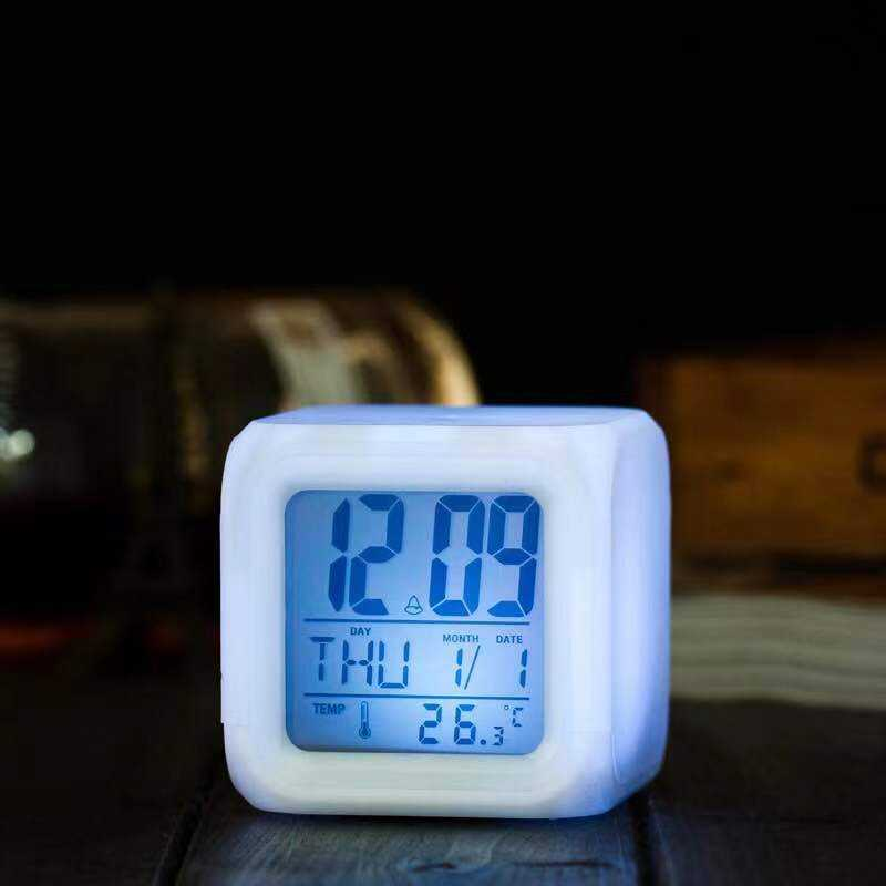 Factory directly Color Change Digital kids table cube fancy Led wake up light Blank Sublimation available Alarm Clock