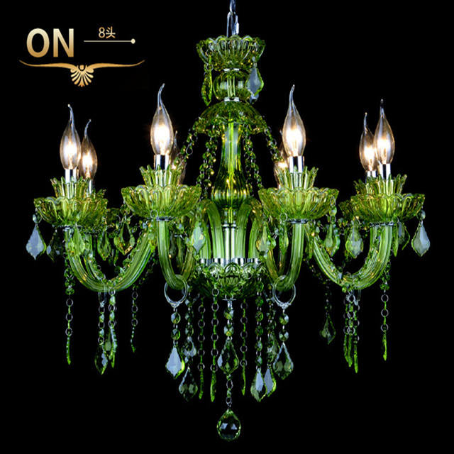 ceiling chandelier light vintage E14 lamp top quality modern new design green crystal chandelier for living room