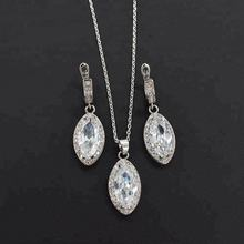 Elegant 925 Jewelry Set Shiny Rhinestones Silver Plated Earring and Necklace Zircon Jewelry Set