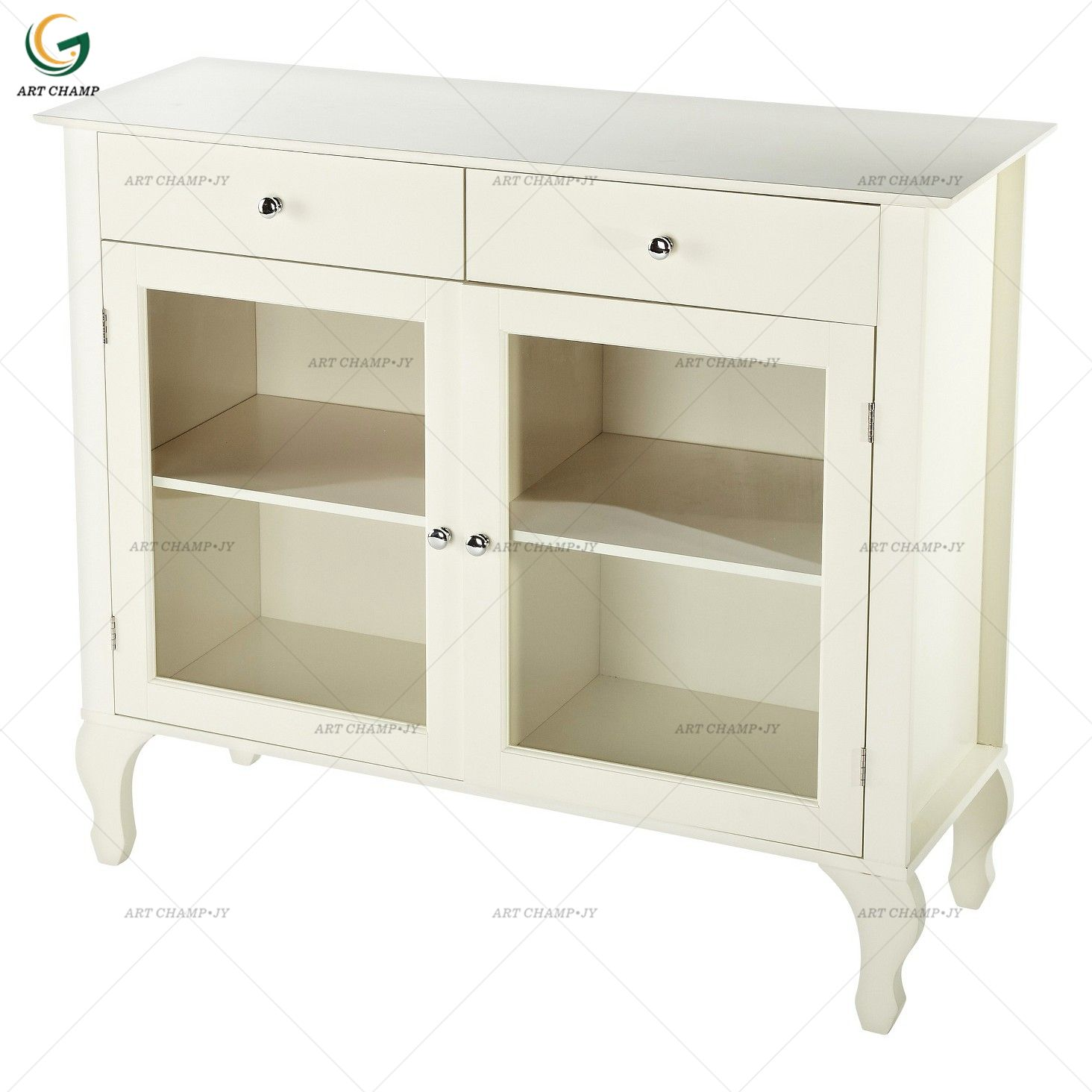 Home furniture white wood modern buffet cabinet sideboard with showcase