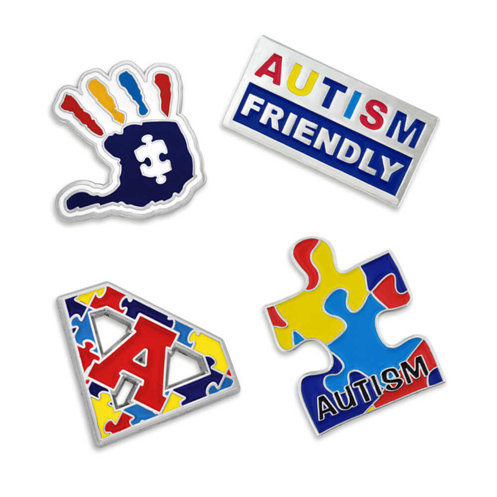 Autism Awareness Autistic Puzzle Ribbon Metal Enamel Lapel Pin Badge