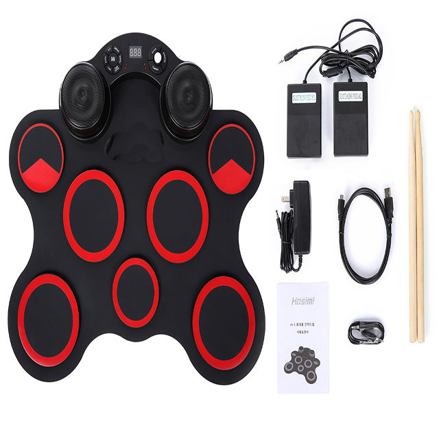 Professional Dual Stereo Speakers Electric Midi Drum Practice Pads Set