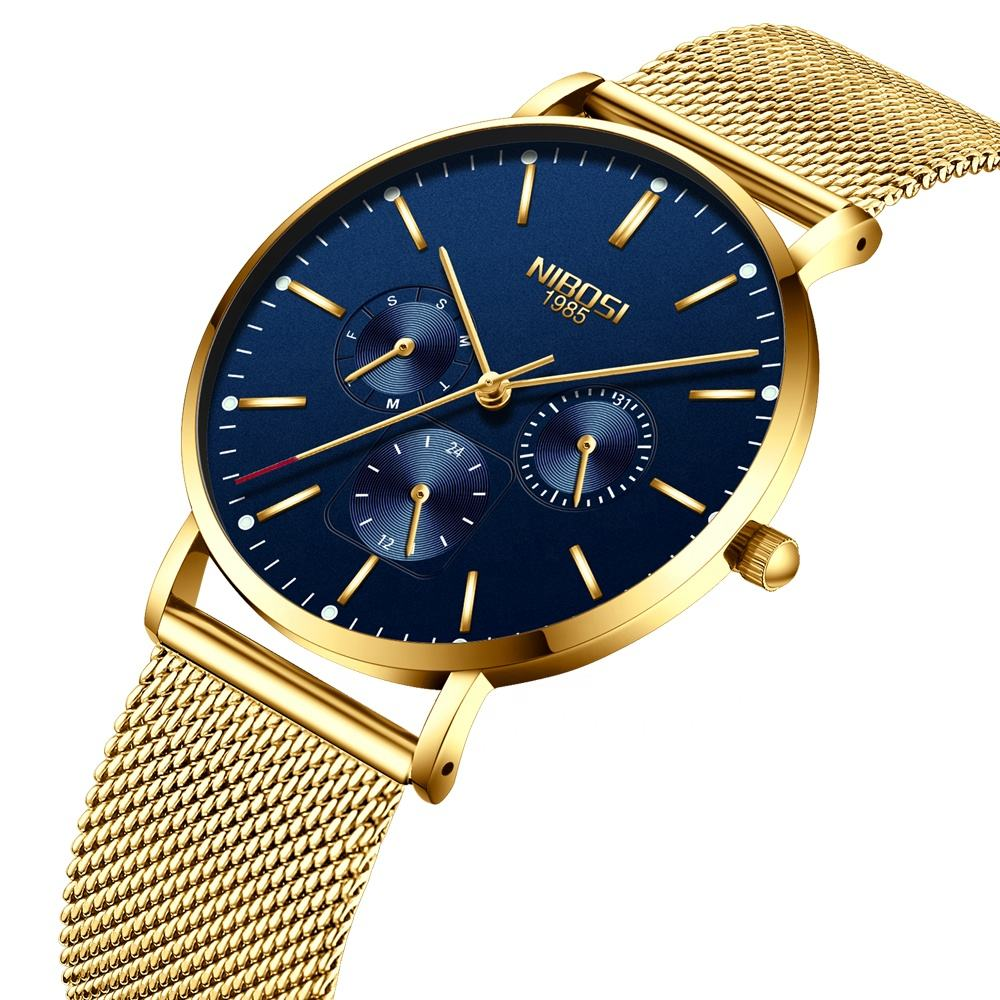 NIBOSI 2321-1 Factory direct nibosi fashion men's watch ultra-thin mesh belt quartz watch wholesale