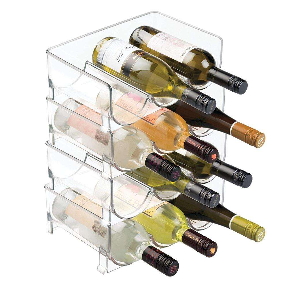 Customized size clear mDesign Modern Plastic stackable acrylic wine rack