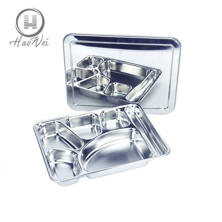 High quality 6 Compartments stainless steel hospital prison hotel snack tray food tray