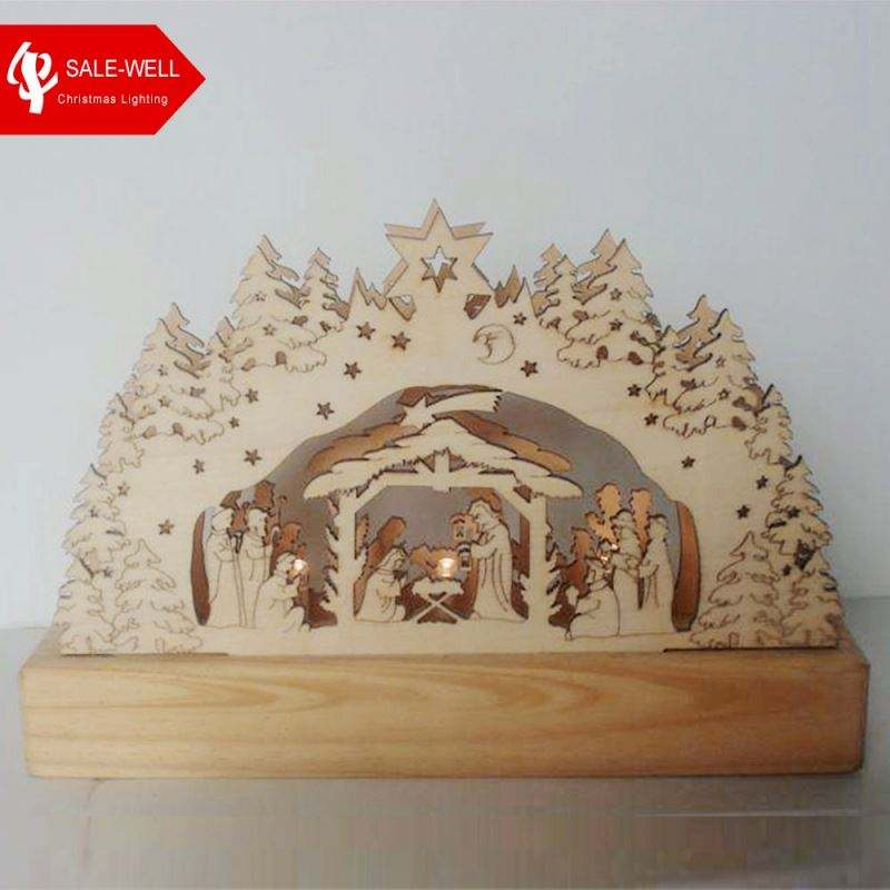 manufacture led lights arch lights with jesus familes Wood Carving Christmas Ornament Engraved Germany Christmas Crafts
