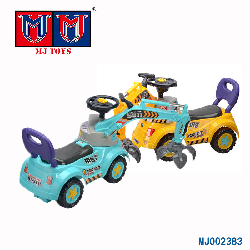 construction truck toy scooter pulling cart ride on car kids