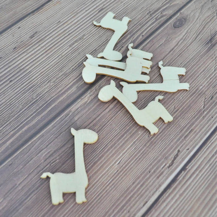 Factory Direct Sale Wood Craft Animal Shapes Laser Cut Giraffe Wood Cutout Shapes