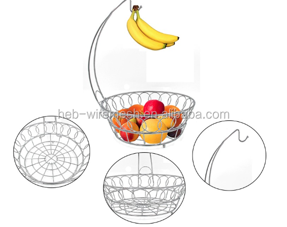 3 tier metal fruit basket/stainless steel with chain/metal hanging fruit basket