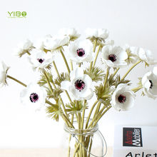 Best Selling Realistic Looking White-Green PU True Touch Anemone Flower