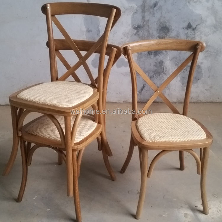 reasonable price wooden cross back chairs with rattan seat, X back chair