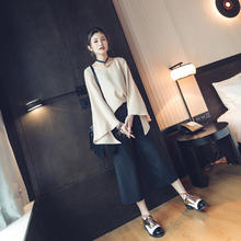B20642A latest fashion ladies pure color horn Sleeve Chiffon shirts