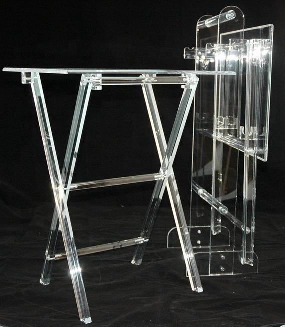 Plexiglas transparent acrylique pliant TV Snack plateaux clair acrylique pliable Snack Table Bar Table
