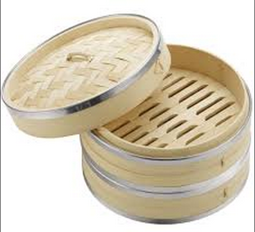 Hot sale eco friendly bamboo Food Steamer 10inch with stainless Steel