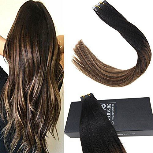 Balayage tape hair extensions remy human skin weft hair natural black fading to dark brown with caramel blonde 40pcs 100g