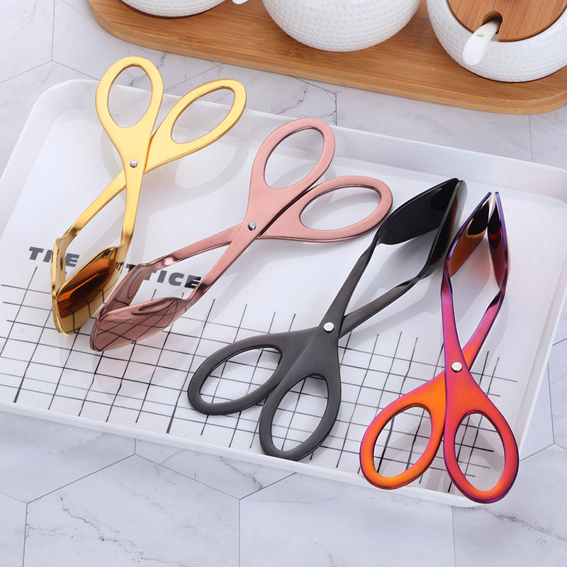 Scissor shape kitchen utensils rose gold metal egg helper food clip