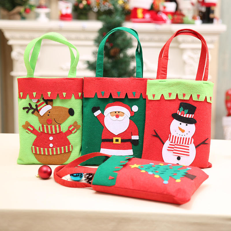 Hot selling Christmas decoration candy bag felt christmas gift bag