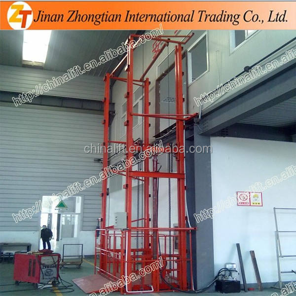 Unilateral warehouse guide rail lift hydraulic vertical materials delivery lifter