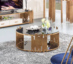 Modern vòng stain ít thép coffee table set glass top end bảng