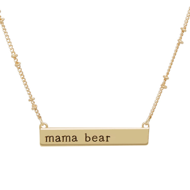Fashion jewelry gold plated engraved mama bear 14k gold bar necklace