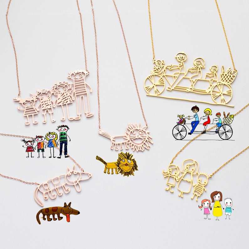 Inspire stainless steel jewelry Actual Kids Drawing Necklace Children Artwork Necklace Personalized jewelry Special Gift