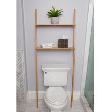 Bathroom Organizer over the Toilet, Bathroom Space saver Bamboo 2 Tier Shelf Waterproof Free Standing Bathroom Shelves
