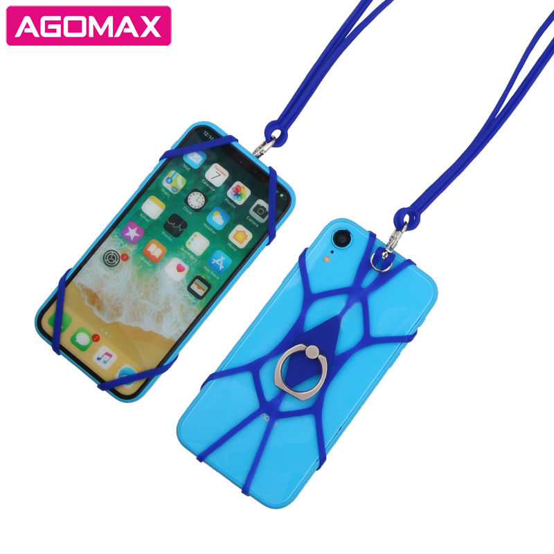 FREE SAMPLE elastic silicone lanyard cell phone holder with finger ring stand