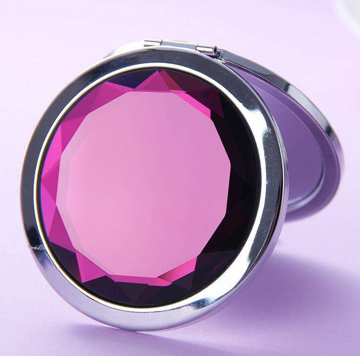 souvenir compact hand mirror custom made diamond shape crystal folding pocket mirror customized logo metal make up mirror