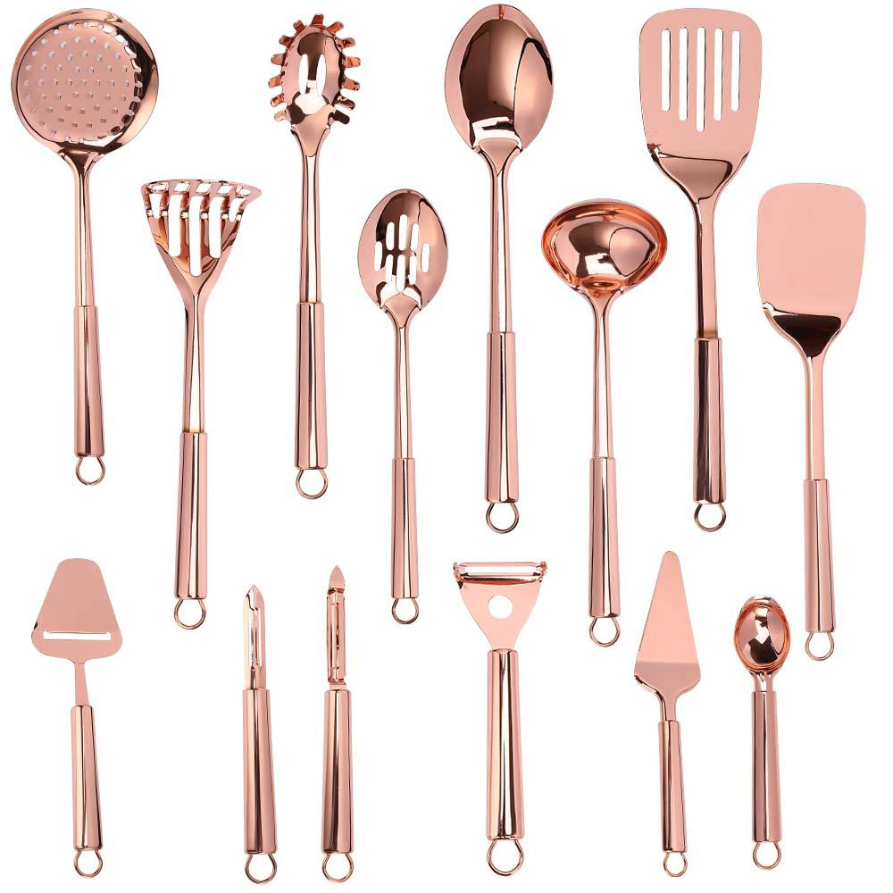Best Quality Rose Gold Stainless Steel Kitchen Accessories Tool Kitchen Utensil Set