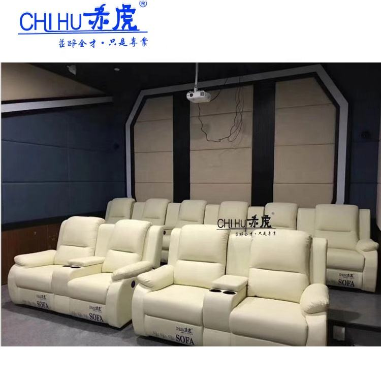 Top grain leather electric private cinema sofa, home theater recliner sofa with power recliners