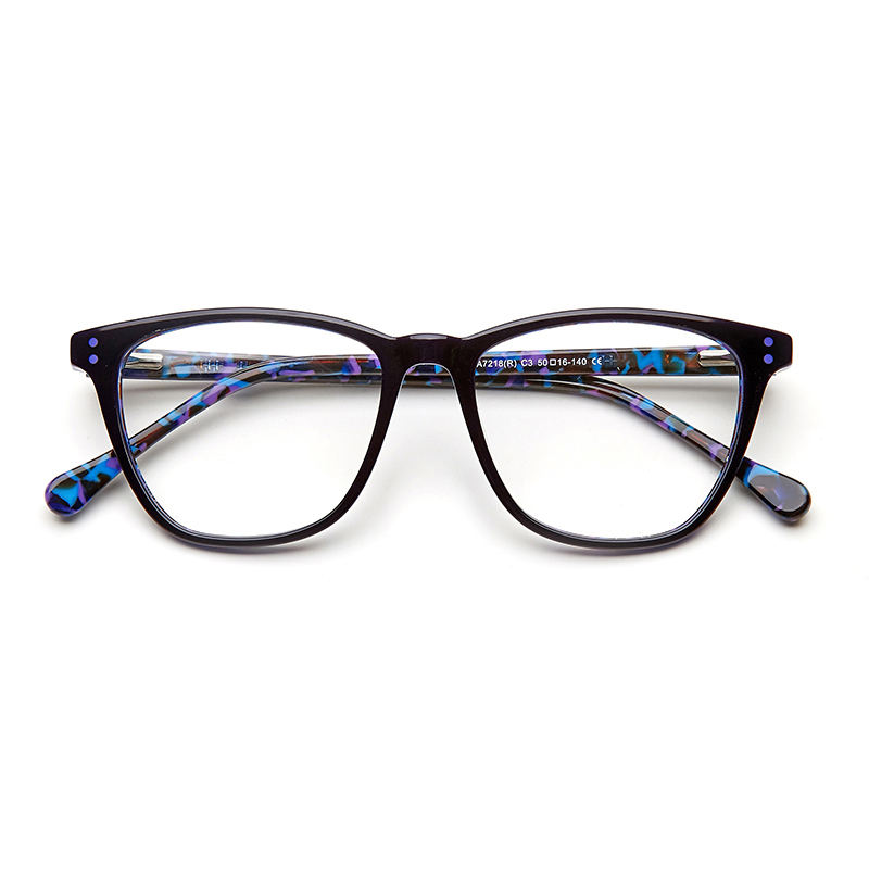 Acetate Woman Glasses Optical Frames Clear Fashion Transparent For Female Optical Spectacle Frame Rivet Purple color