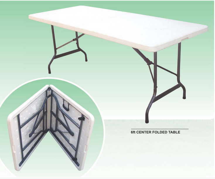 Cheap White outdoor rectangular folding HDPE Plastic Folding camping dining Table