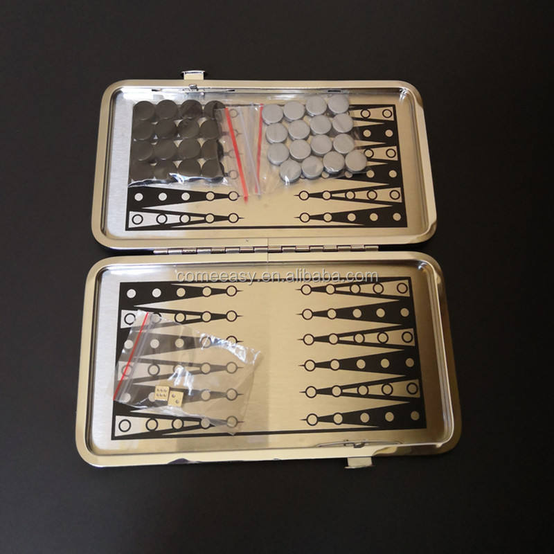 Mini Magnetische Reizen Game Set Aluminium <span class=keywords><strong>Backgammon</strong></span> in Zwart Pu Leather Case