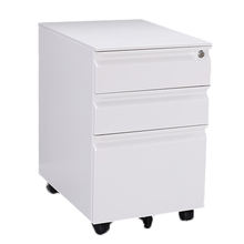 Luoyang Assembled under desk 3 drawers detachable portable mobile pedestal locakable steel white storage file cabinet