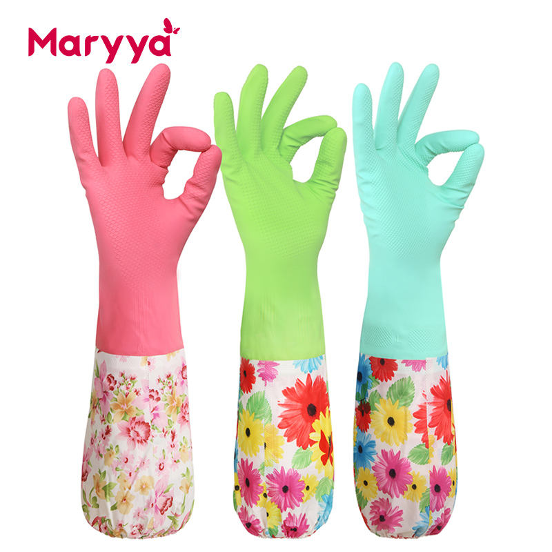 Maryya Household Latex Long Hand Gloves For Kitchen Dish Cleaning
