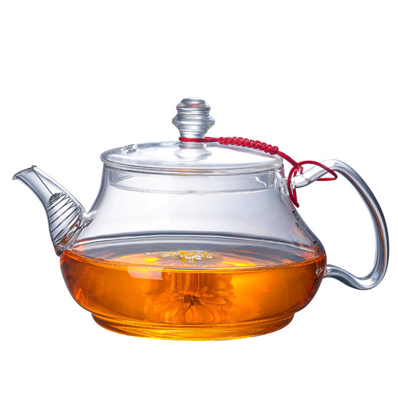 Environmentally friendly 1000 ml / 34 oz thick borosilicate glass teapot for home use
